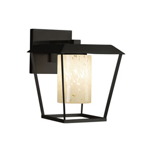 Fusion - Patina Matte Black 12-Inch LED Outdoor Wall Sconce with Droplet Artisan Glass