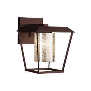 Fusion - Patina Dark Bronze 12-Inch One-Light Outdoor Wall Sconce with Mercury Artisan Glass