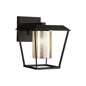 Fusion - Patina Matte Black 12-Inch LED Outdoor Wall Sconce with Mercury Artisan Glass