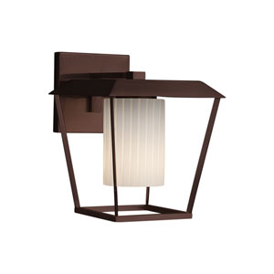 Fusion - Patina Dark Bronze 12-Inch One-Light Outdoor Wall Sconce with Ribbon Artisan Glass
