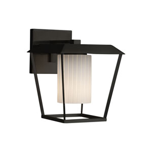Fusion - Patina Matte Black 12-Inch One-Light Outdoor Wall Sconce with Ribbon Artisan Glass