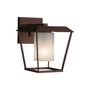 Fusion - Patina Dark Bronze One-Light Outdoor Wall Sconce with Weave Artisan Glass
