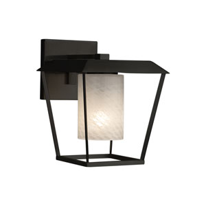 Fusion - Patina Matte Black One-Light Outdoor Wall Sconce with Weave Artisan Glass