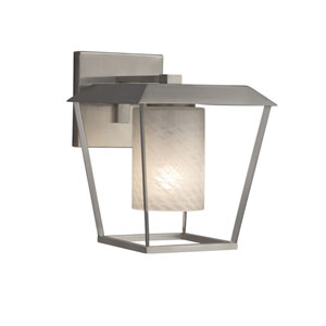 Fusion - Patina Brushed Nickel 12-Inch LED Outdoor Wall Sconce with Weave Artisan Glass
