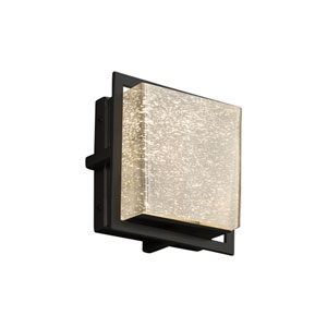 Fusion - Avalon Matte Black Seven-Inch LED Outdoor Wall Sconce with Mercury Artisan Glass