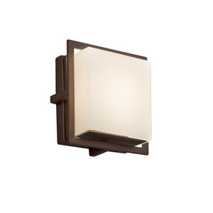 Fusion - Avalon Dark Bronze Seven-Inch LED Outdoor Wall Sconce with Opal Artisan Glass