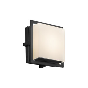 Fusion - Avalon Matte Black Seven-Inch LED Outdoor Wall Sconce with Opal Artisan Glass