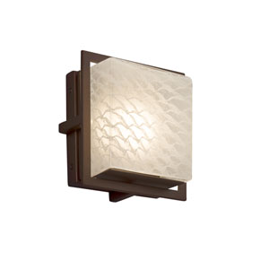 Fusion - Avalon Dark Bronze Seven-Inch LED Outdoor Wall Sconce with Weave Artisan Glass