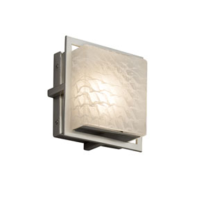 Fusion - Avalon Brushed Nickel Seven-Inch LED Outdoor Wall Sconce with Weave Artisan Glass