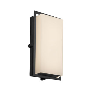 Fusion - Avalon Matte Black LED Outdoor Wall Sconce with Opal Artisan Glass