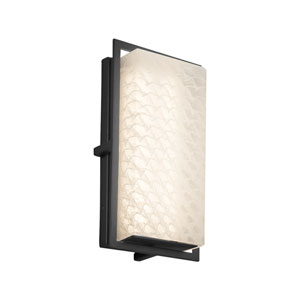 Fusion - Avalon Matte Black LED Outdoor Wall Sconce with Weave Artisan Glass