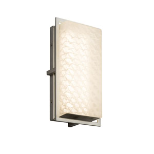 Fusion - Avalon Brushed Nickel LED Outdoor Wall Sconce with Weave Artisan Glass