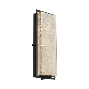 Fusion - Avalon Matte Black 18-Inch LED Outdoor Wall Sconce with Mercury Artisan Glass