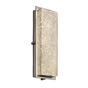 Fusion - Avalon Brushed Nickel 18-Inch LED Outdoor Wall Sconce with Mercury Artisan Glass