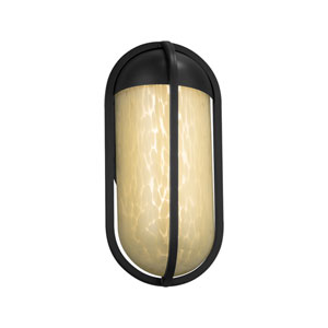 Fusion - Starboard Matte Black LED Outdoor Wall Sconce with Droplet Artisan Glass
