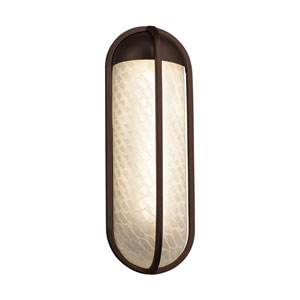 Fusion - Starboard Dark Bronze LED Outdoor Wall Sconce with Weave Artisan Glass