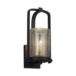 Fusion - Atlantic Matte Black One-Light Outdoor Wall Sconce with Mercury Artisan Glass