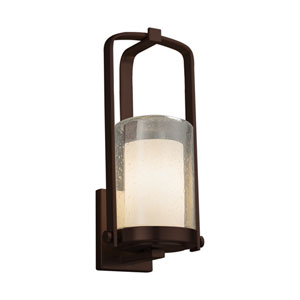 Fusion - Atlantic Dark Bronze One-Light Outdoor Wall Sconce with Opal Artisan Glass