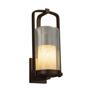 Fusion - Atlantic Dark Bronze One-Light Outdoor Wall Sconce with Droplet Artisan Glass