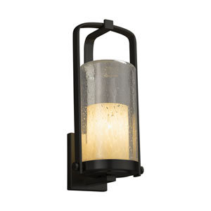 Fusion - Atlantic Matte Black One-Light Outdoor Wall Sconce with Droplet Artisan Glass