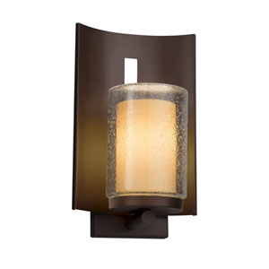 Fusion - Embark Dark Bronze LED Outdoor Wall Sconce with Almond Artisan Glass