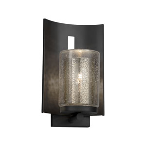 Fusion - Embark Matte Black One-Light Outdoor Wall Sconce with Mercury Artisan Glass