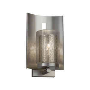 Fusion - Embark Brushed Nickel One-Light Outdoor Wall Sconce with Mercury Artisan Glass