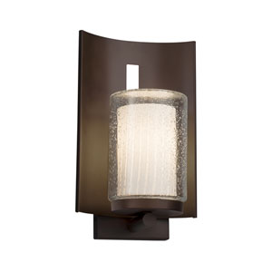 Fusion - Embark Dark Bronze One-Light Outdoor Wall Sconce with Ribbon Artisan Glass