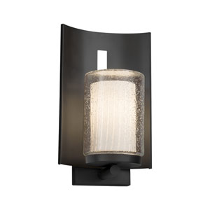 Fusion - Embark Matte Black One-Light Outdoor Wall Sconce with Ribbon Artisan Glass