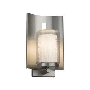 Fusion - Embark Brushed Nickel One-Light Outdoor Wall Sconce with Ribbon Artisan Glass