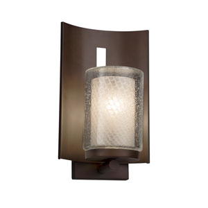 Fusion - Embark Dark Bronze One-Light Outdoor Wall Sconce with Weave Artisan Glass