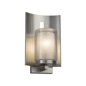 Fusion - Embark Brushed Nickel One-Light Outdoor Wall Sconce with Weave Artisan Glass