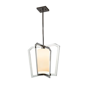 Fusion - Aria Polished Chrome One-Light Pendant with Opal Artisan Glass