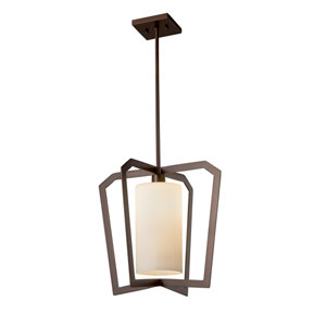 Fusion - Aria Dark Bronze One-Light Pendant with Opal Artisan Glass