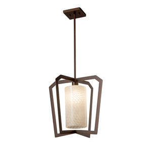 Fusion - Aria Dark Bronze One-Light Pendant with Weave Artisan Glass