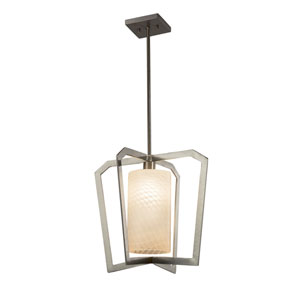 Fusion - Aria Brushed Nickel LED Pendant with Weave Artisan Glass