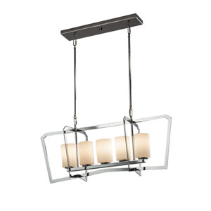 Fusion - Aria Polished Chrome Five-Light Linear Pendant with Opal Artisan Glass