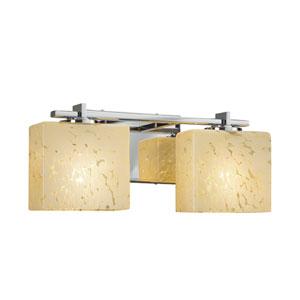 Fusion - Era Polished Chrome Two-Light Bath Vanity with Droplet Artisan Glass