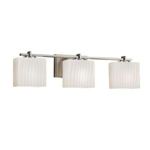 Fusion - Era Brushed Nickel Three-Light Bath Vanity with Ribbon Artisan Glass