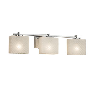 Fusion - Era Polished Chrome Three-Light Bath Vanity with Weave Artisan Glass