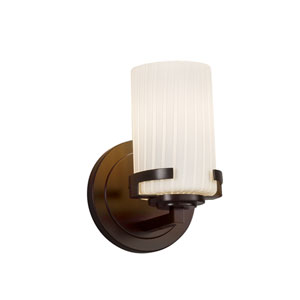 Fusion - Atlas Dark Bronze LED Wall Sconce with Ribbon Artisan Glass