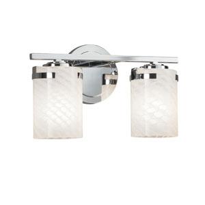 Fusion - Atlas Polished Chrome Two-Light LED Bath Vanity with Weave Artisan Glass