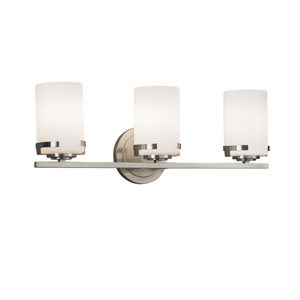 Fusion - Atlas Brushed Nickel Three-Light LED Bath Vanity with Opal Artisan Glass