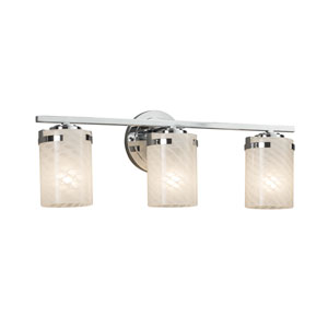 Fusion - Atlas Polished Chrome Three-Light LED Bath Vanity with Weave Artisan Glass