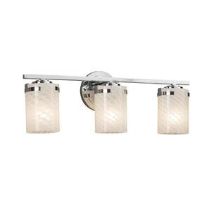 Fusion - Atlas Polished Chrome Three-Light LED Bath Vanity with Weave Artisan Glass