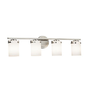 Fusion - Atlas Brushed Nickel Four-Light LED Bath Vanity with Opal Artisan Glass