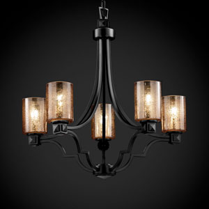 Fusion Argyle Five-Light Matte Black Chandelier