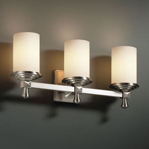 Fusion Deco Three-Light Brushed Nickel Bath Fixture