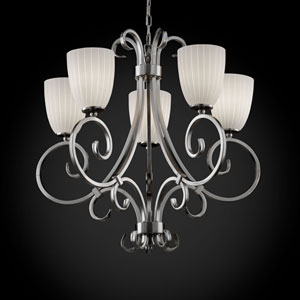 Fusion Victoria Five-Uplight Brushed Nickel Chandelier