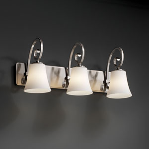 Fusion Victoria Three-Light Brushed Nickel Bath Fixture